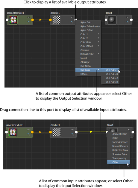 Maya User's Guide: Connect nodes by dragging connection lines