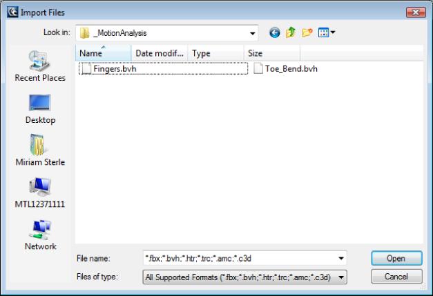 MotionBuilder Help: Opening a motion (MoCap) file