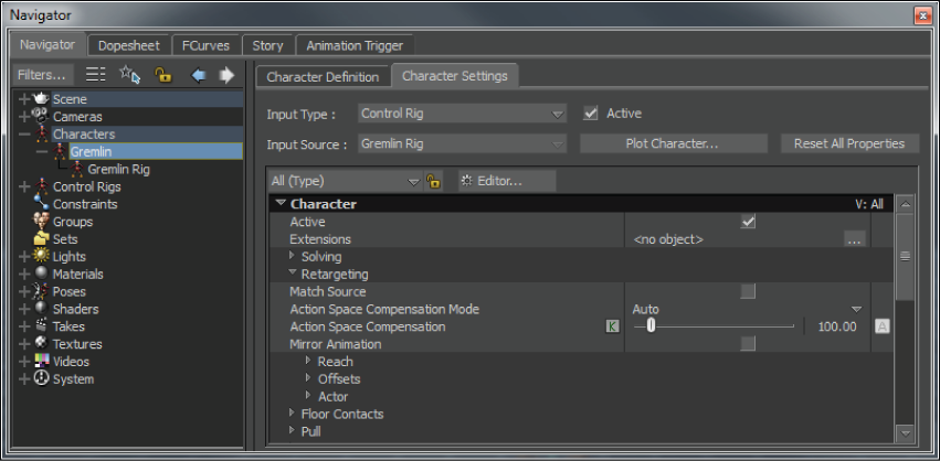 MotionBuilder Help: Character settings