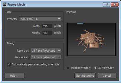 Mudbox Help: Record a movie