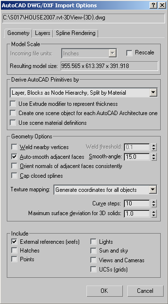3ds Max Reference: DWG/DXF Import: Geometry Panel
