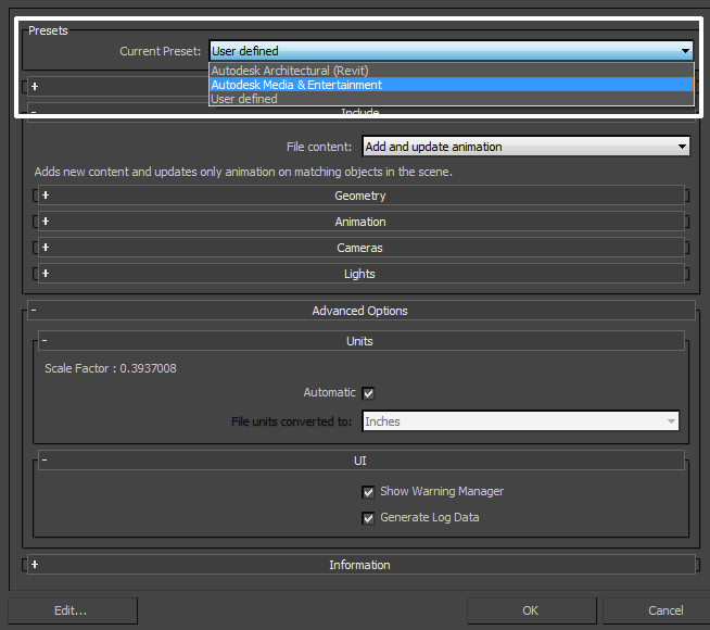 Autodesk 3ds Max FBX Plug-in Guide: Import Presets