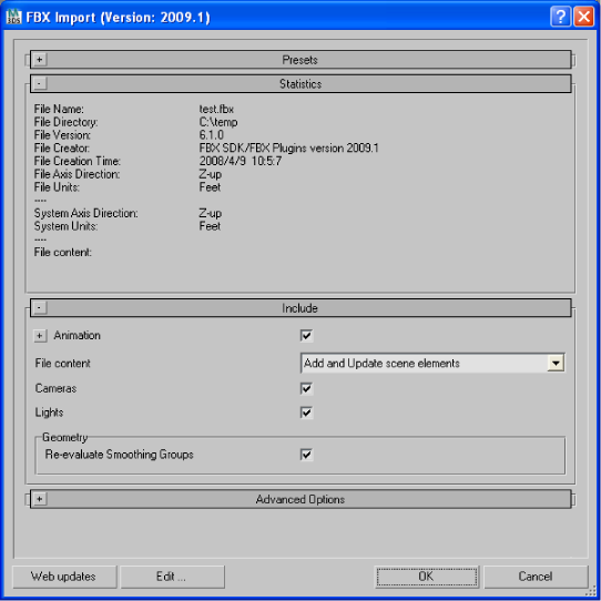 Autodesk 3ds Max FBX Plug-in Online Help: FBX Plug-in UI