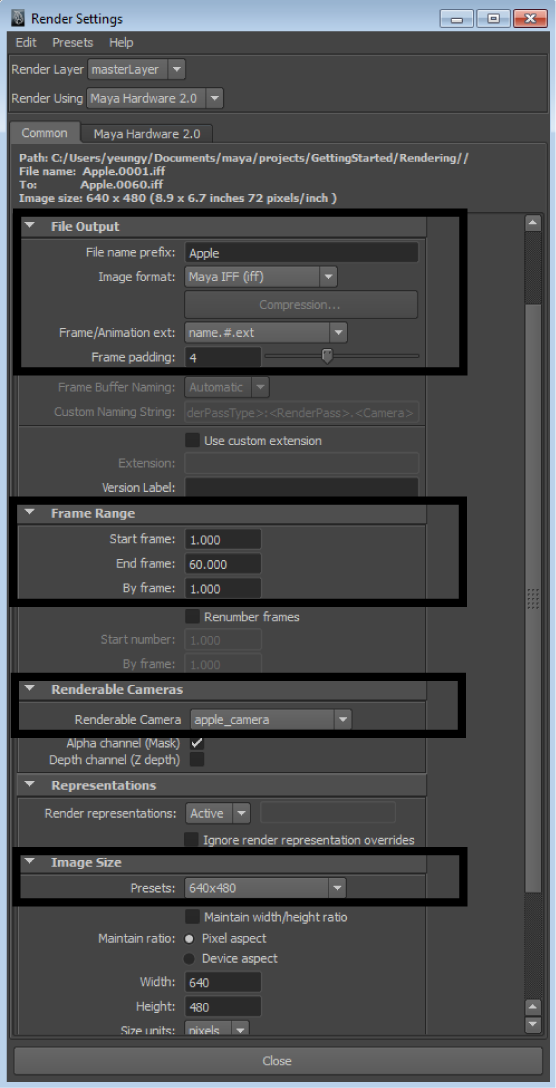Maya Getting Started: Batch rendering a sequence of animation frames
